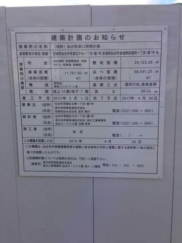 仙台駅東口開発計画の看板