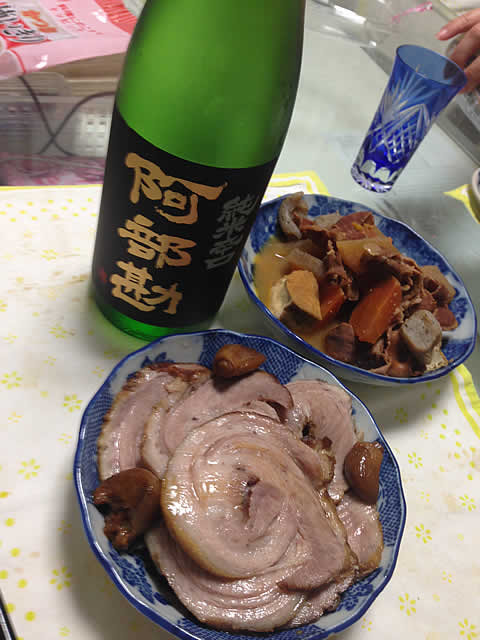 自作チャーシューと日本酒
