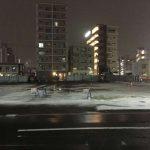 今シーズン初積雪の仙台市中心部