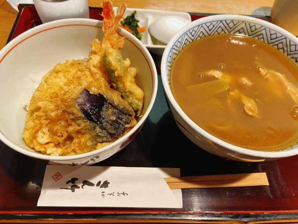 さん竹のミニ天丼と伊達鶏カレーそば
